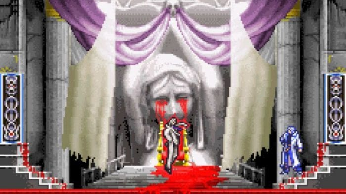 Soma Cruz from Aria of Sorrow confronts the game's big bad near a statue crying bloody tears