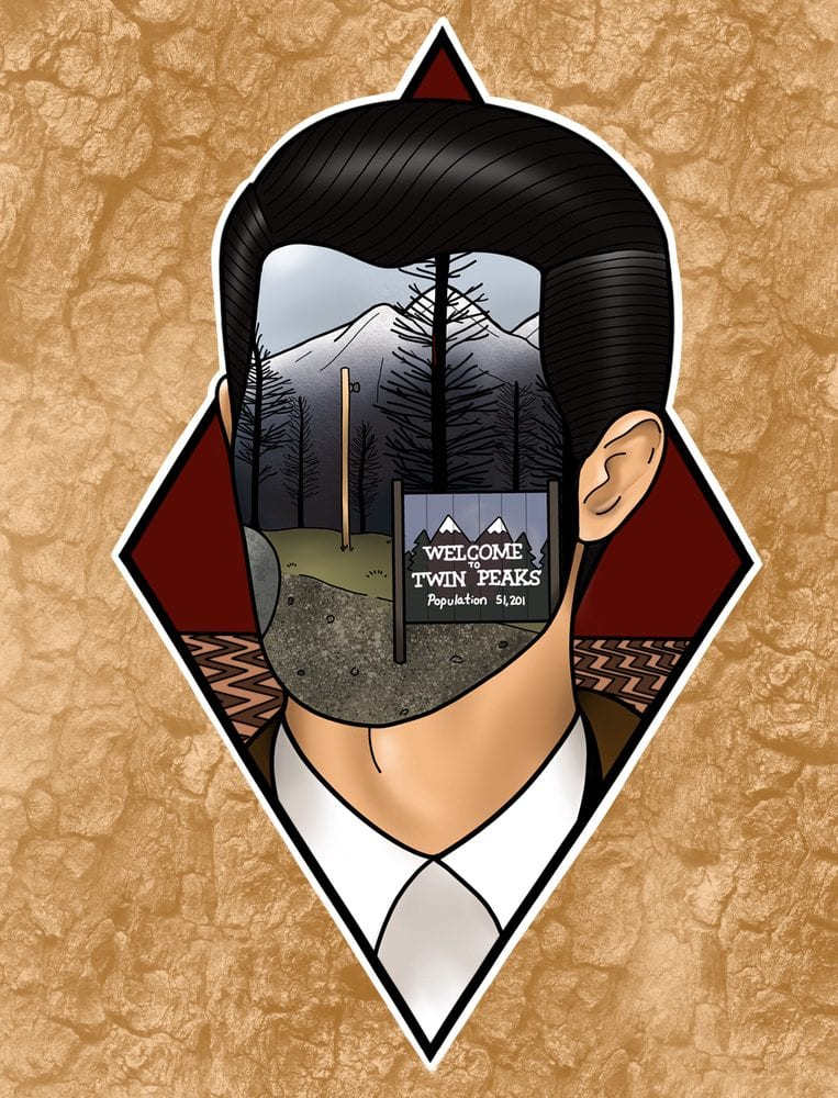 Twin Peaks art illustration of Agent Cooper with the welcome to twin peaks sign in his face and the red room in the background