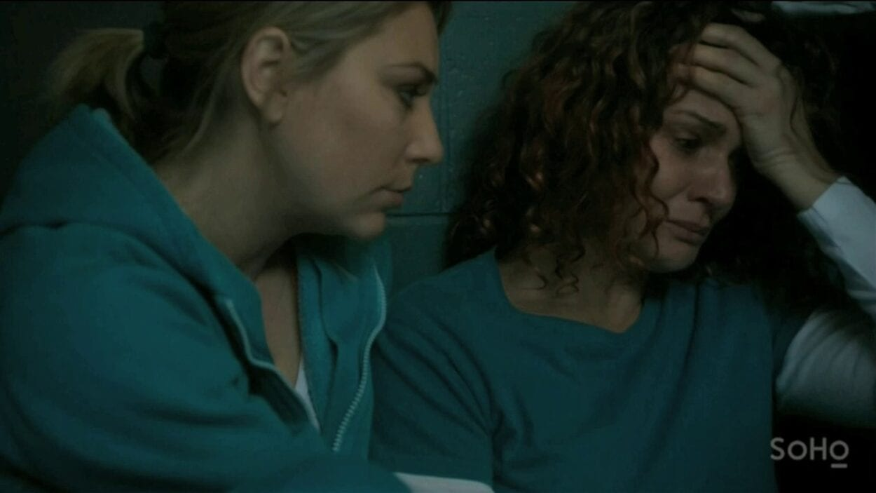 Allie (Kate Jenkinson) comforts Bea (Danielle Cormack) after Bea is found cutting herself.