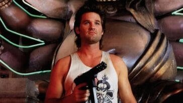 Jack Burton stands in Lo Pan's domain with a gun