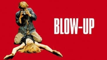 Blow-Up poster with Thomas straddling Veruschka