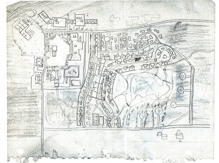 Hand drawn map of a neighborhood