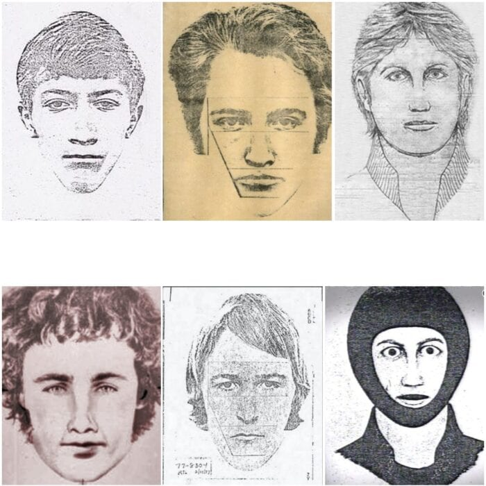a six man array of police sketches