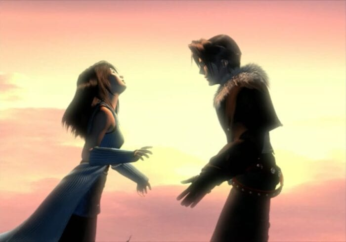 Squall and Rinoa embrace in the opening of FF8