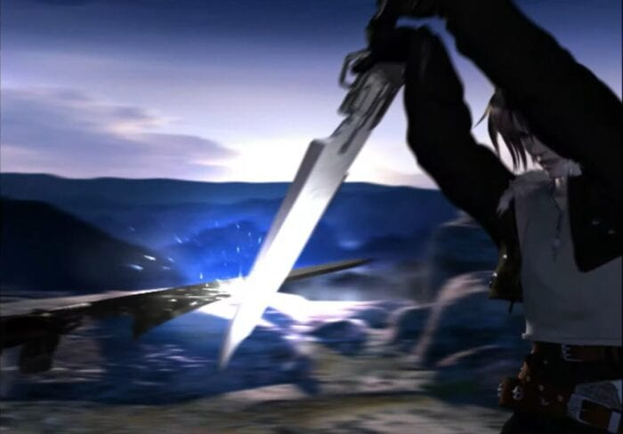 Squall and Seifer duel in the opening cutscene of Final Fantasy VIII