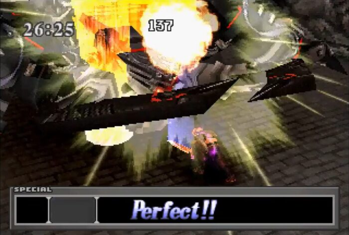 Squall attacks with his Limit Break Renzokuken.