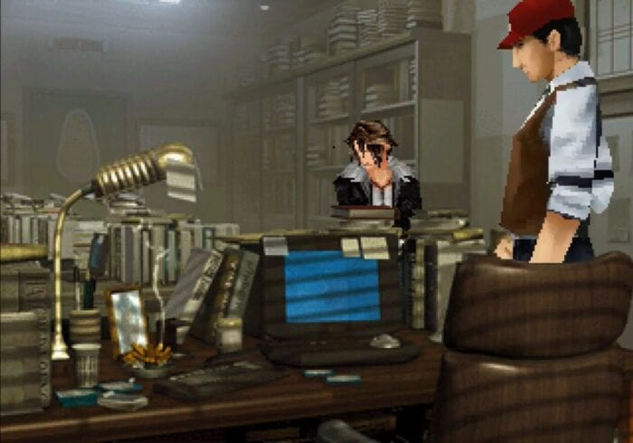 Squall looks bored talking to the editor of Timber Maniacs.
