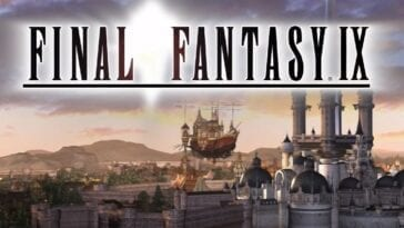 Final Fantasy IX title featuring the skyline of Alexandria
