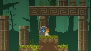 Elliot Quest in the forest surrounded by columns.