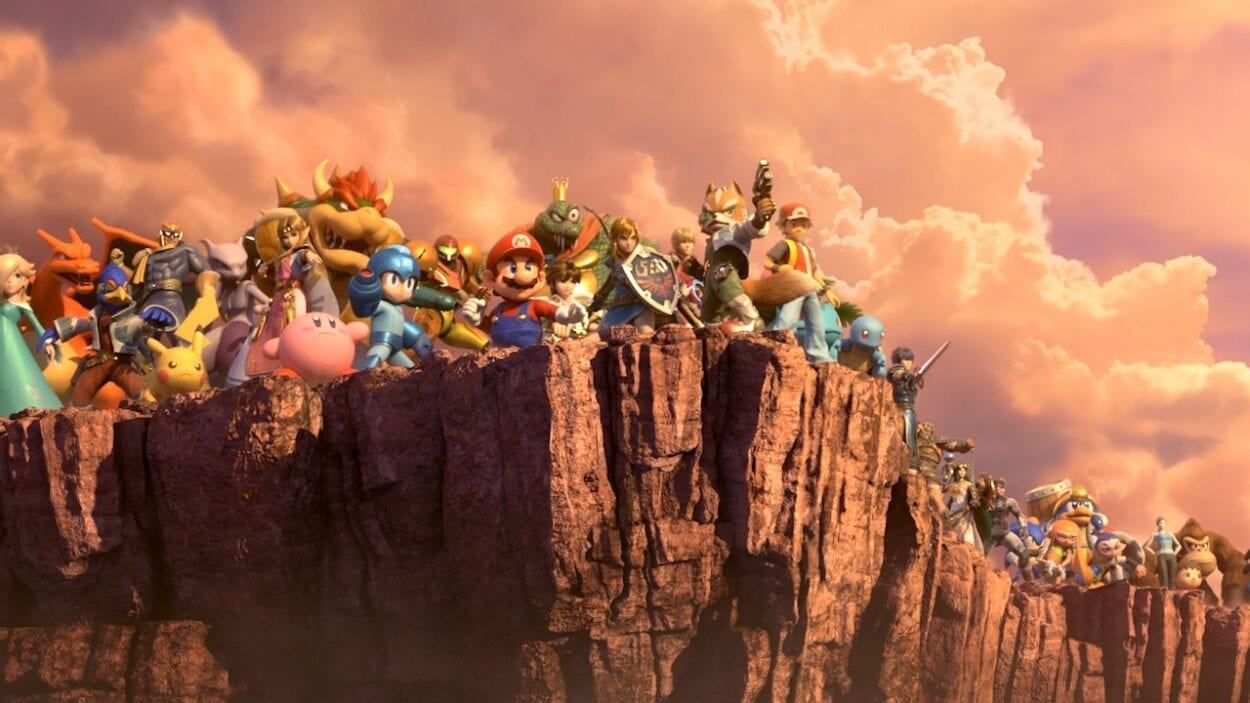 Mario, and a supporting cast of 88 Nintendo characters stand on the edge of a cliff and survey the view.