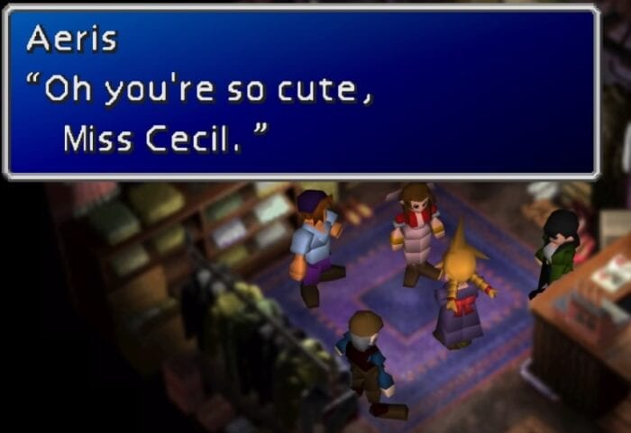 "Cecil in a dress. Aeris calls you ""Cute."""