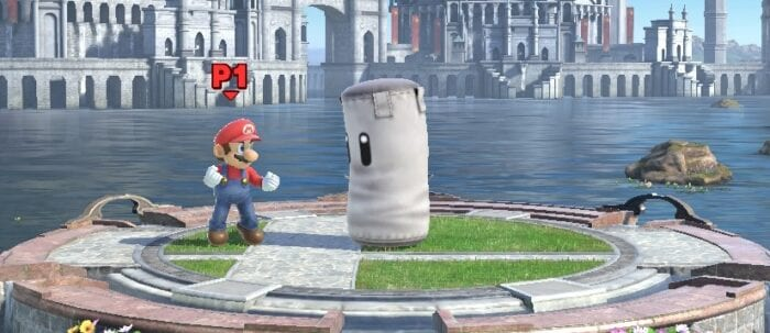 Mario squares off with the Punching Bag in Home Run Derby.