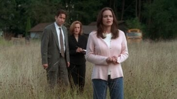 Melissa stands in a field, with Mulder and Scully looking on