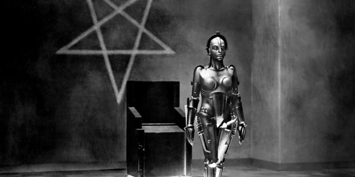 Robot Maria standing in front of a pentagram