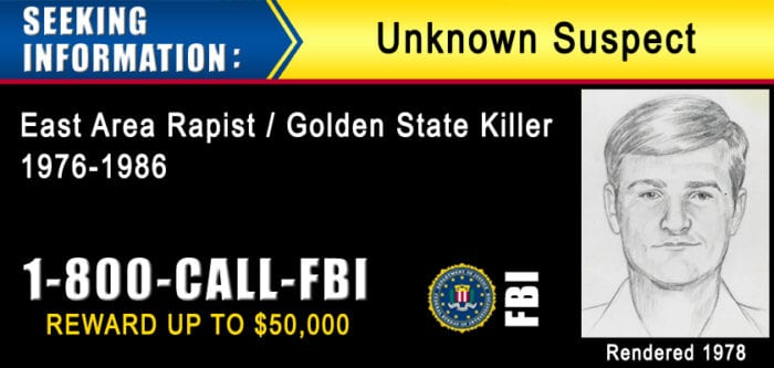 FBI banner with police sketch and phone number of the tip line