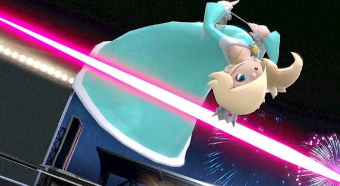 Rosalina leaps over a laser.