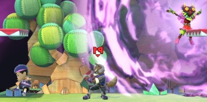Fox McCloud fighting, while Skull Kid causes the screen to reverse.