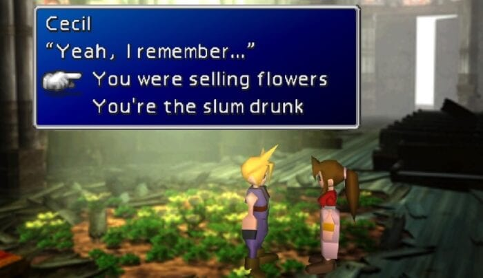 Aeris asks if you remember her. You can tell her you do, or crack a joke.