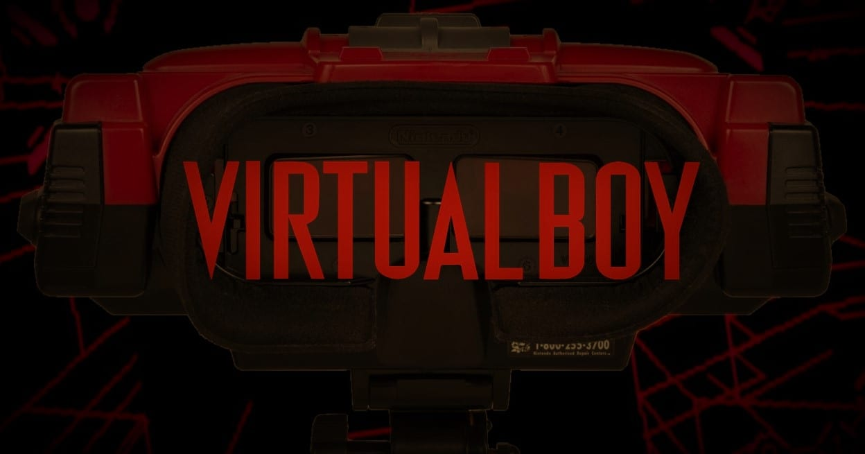 The Virtual Boy Logo imposed over a Virtual Boy Console