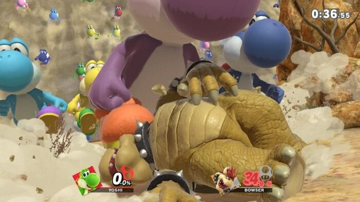 Bowser gets trampled in a Yoshi stampede.