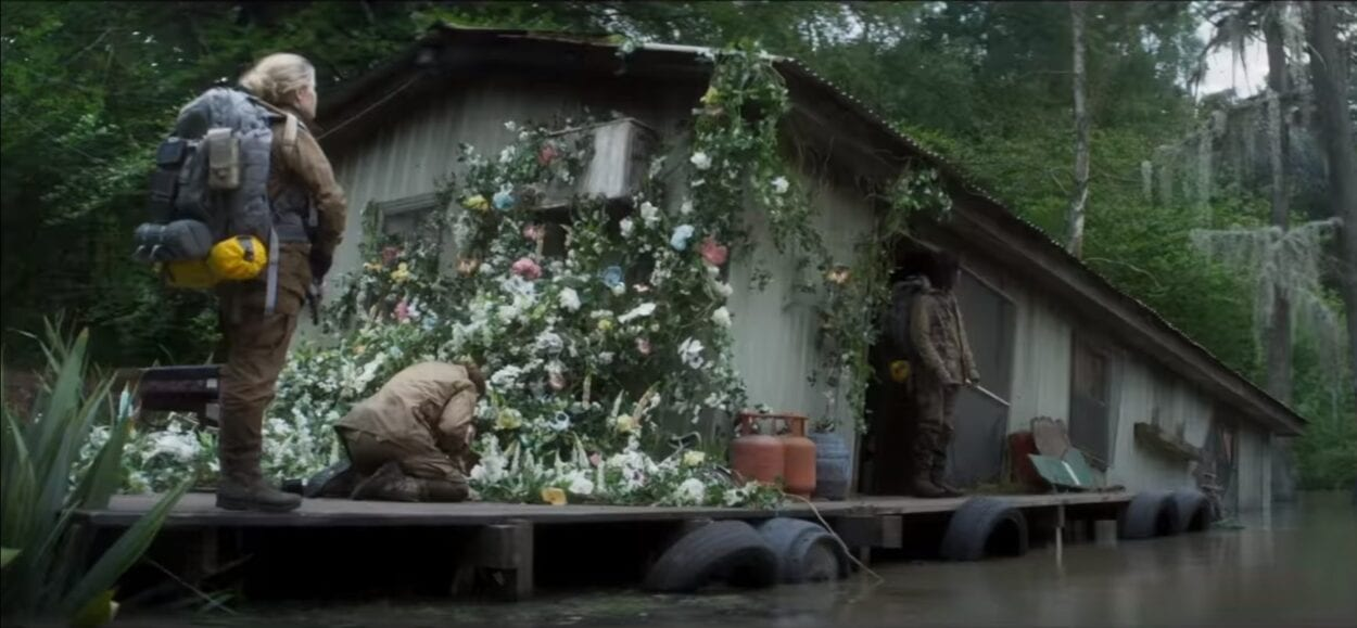 A half sunken shack from Annihilation. Beautiful flowers climb the side not yet submerged in swamp.