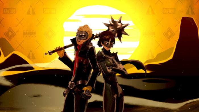 Ryuji and Makoto strike a pose in their Phantom Thieves outfits against a bright yellow sunset