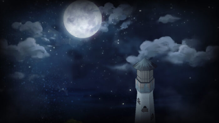 The lighthouse from To The Moon looms tall in the night sky.