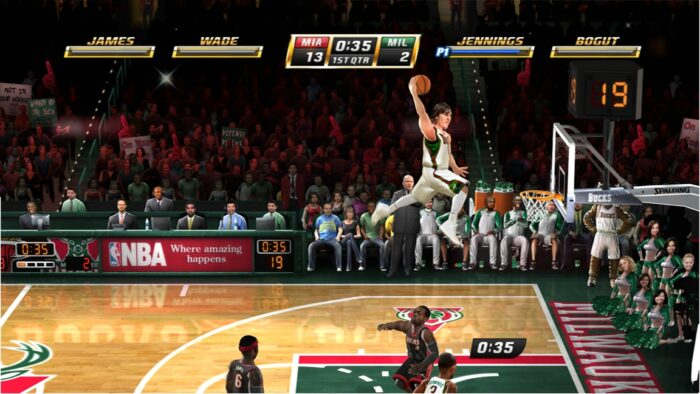 A player in NBA Jam leaps through the air for a sweet slam dunk.
