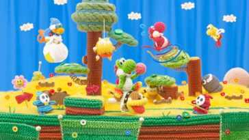 A spread of green and red Yoshi traversing the yarn- stitched land of Yoshi's Wooly World