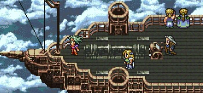 Setzer, Celes, Terra, Edgar, and Sabin all fly through the skies on an airship