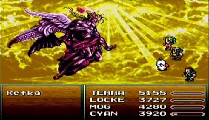 Terra, Locke, Mog, and Cyan fight Kefka Palazzo after he's ascended to Godhood