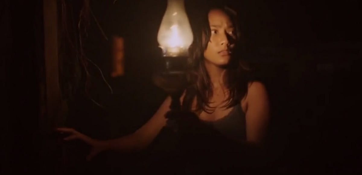 Maya looks outward nervously while holding a lantern and darkness surrounds her.