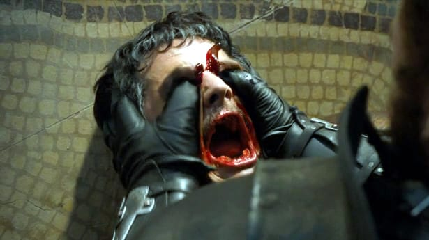 Oberyn has his eyes pushed in to his skull by the Mountain