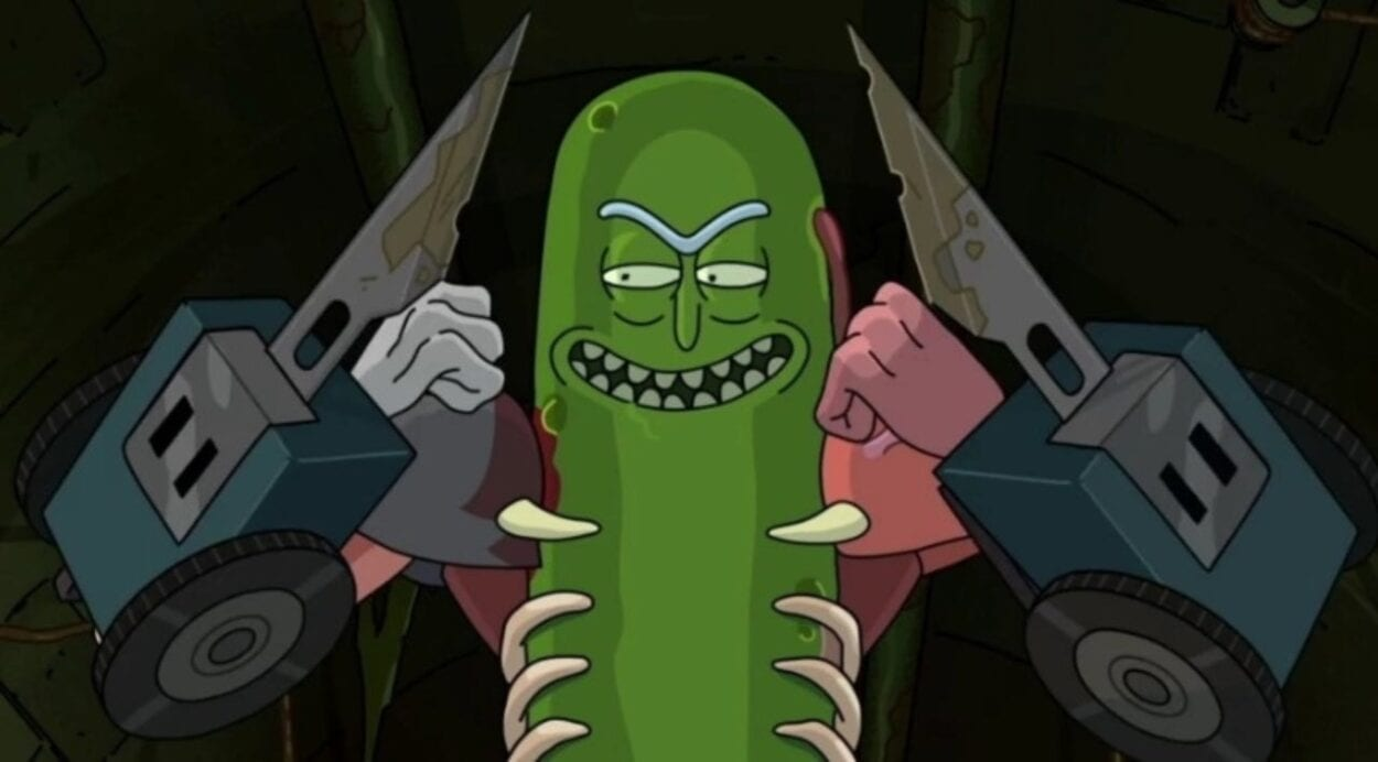 Pickle Rick prepares for battle with his new arm blades.