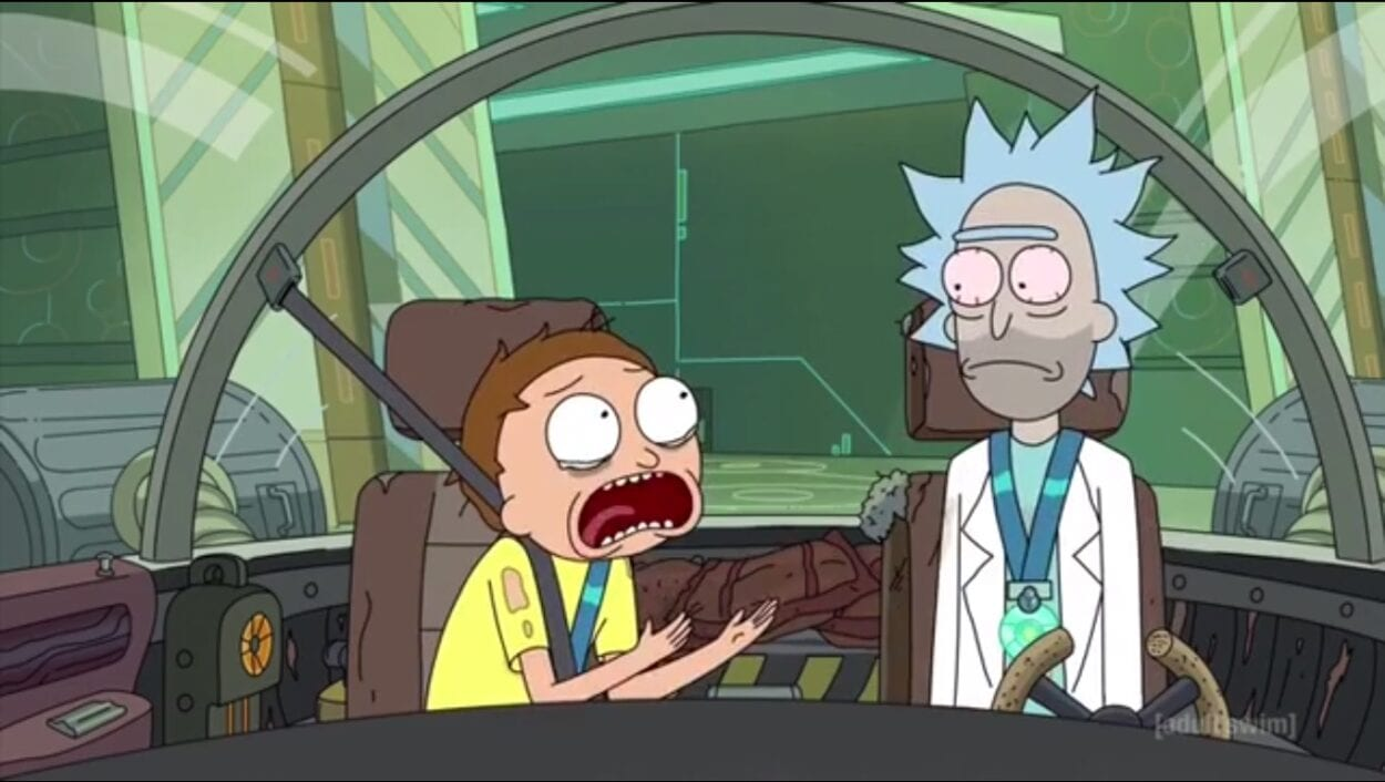 Rick and Morty scream in desperation and exhaustion in the cockpit of the car.r