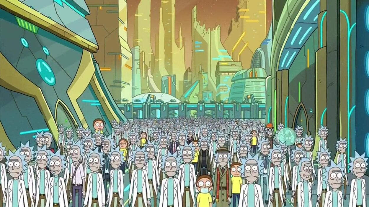 A multitude of Ricks and Mortys traverse the Citadel.