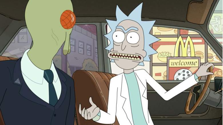 Rick excitedly confronts his Federation captor at the McDonald's drive-thru