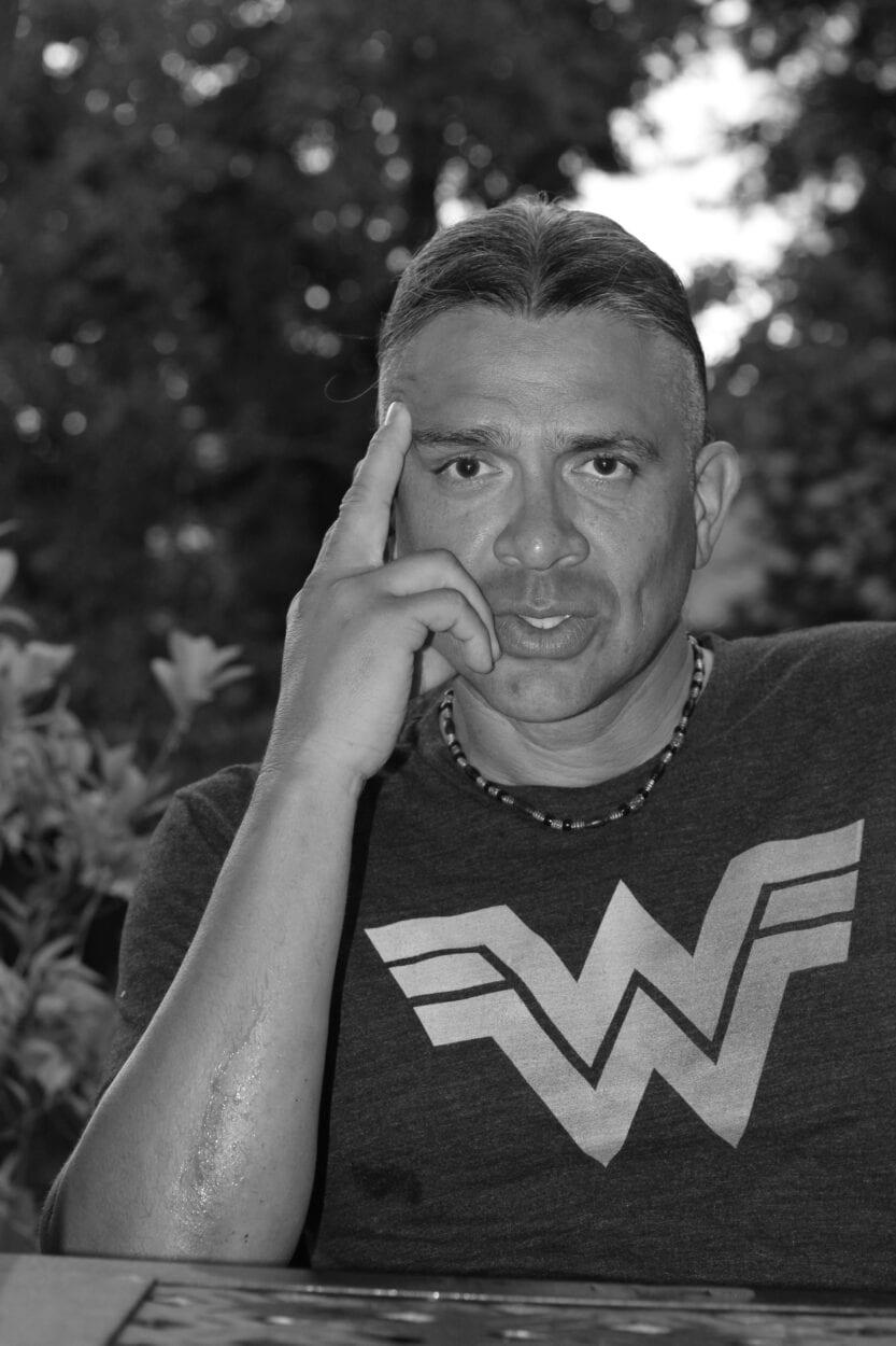 Black and white portrait of author Stephen Graham JOnes.