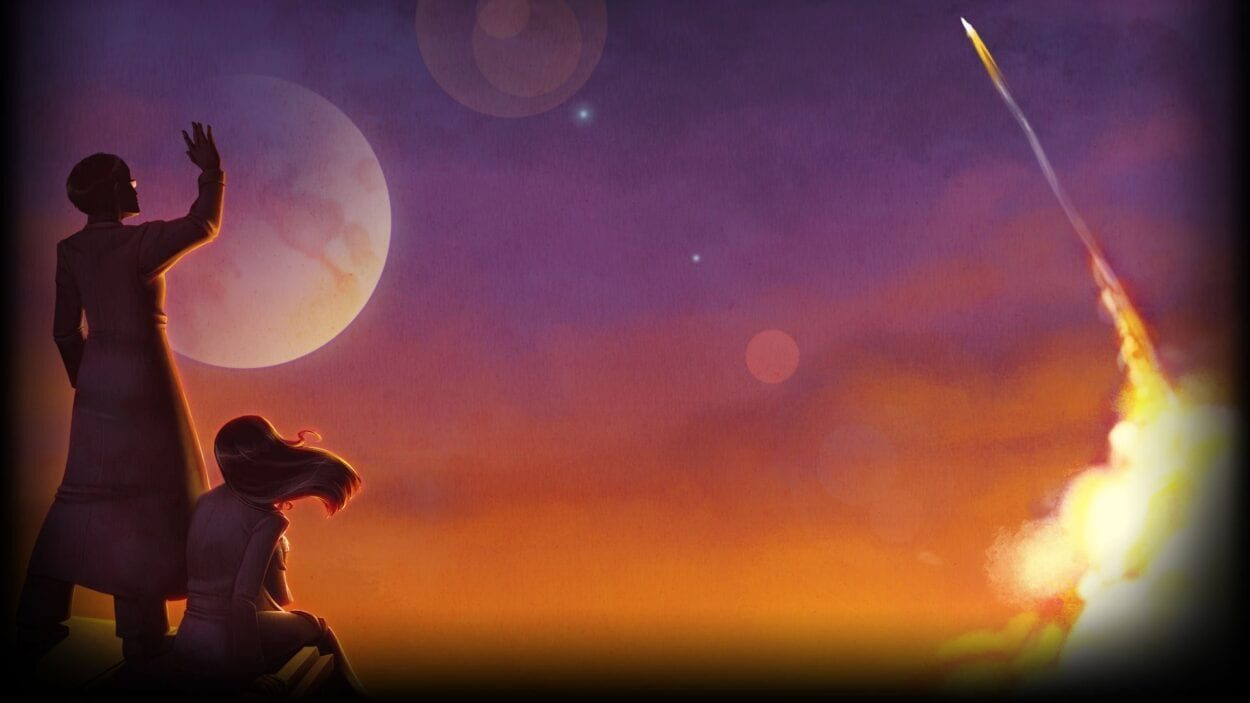 Art for To the Moon depicting the two protagonists watching a rocket launch into the sky