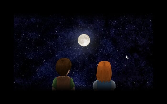 Young Johnny and River gaze up at the moon in the night sky