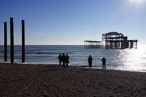 Brighton's West Pier, as seen from the beach