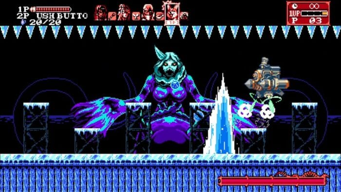 Hachi battles the ice queen boss.
