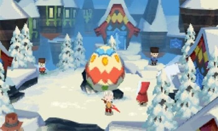 One of the characters stands in a snow covered village