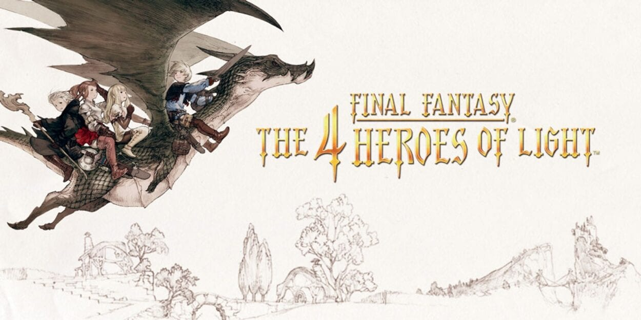 Art for 4 Heroes of Light, featuring the title and the party riding atop a dragon