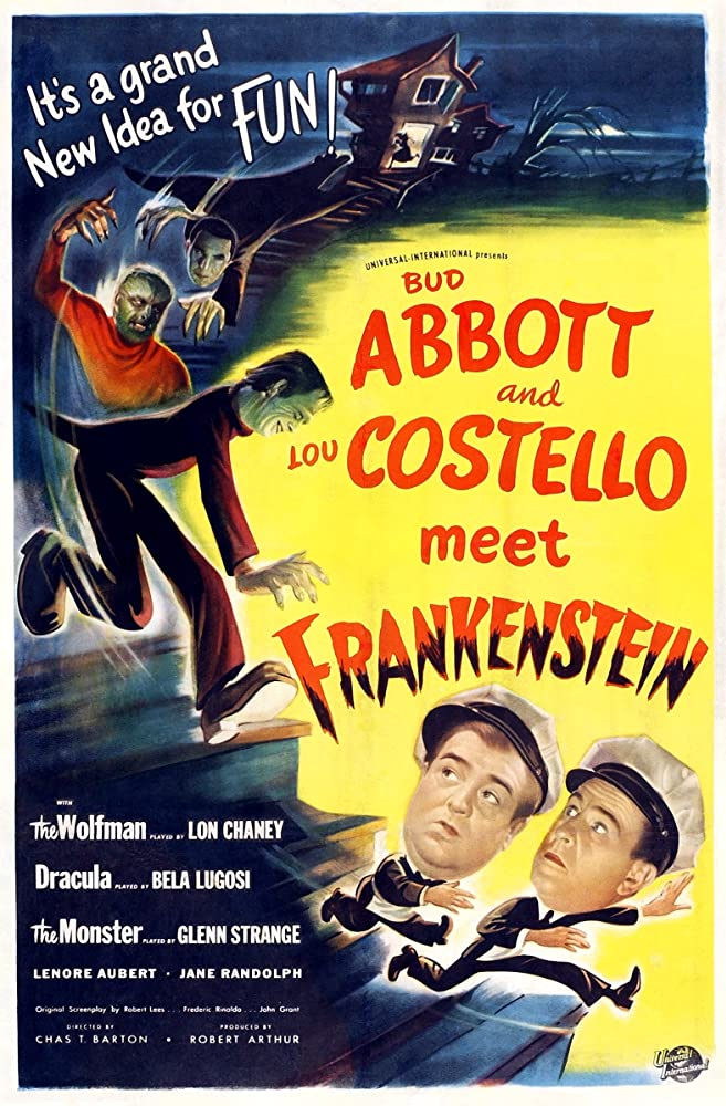 """The poster for the film, """"Abbott and Costello Meet Frankenstein"""" (1948)."""