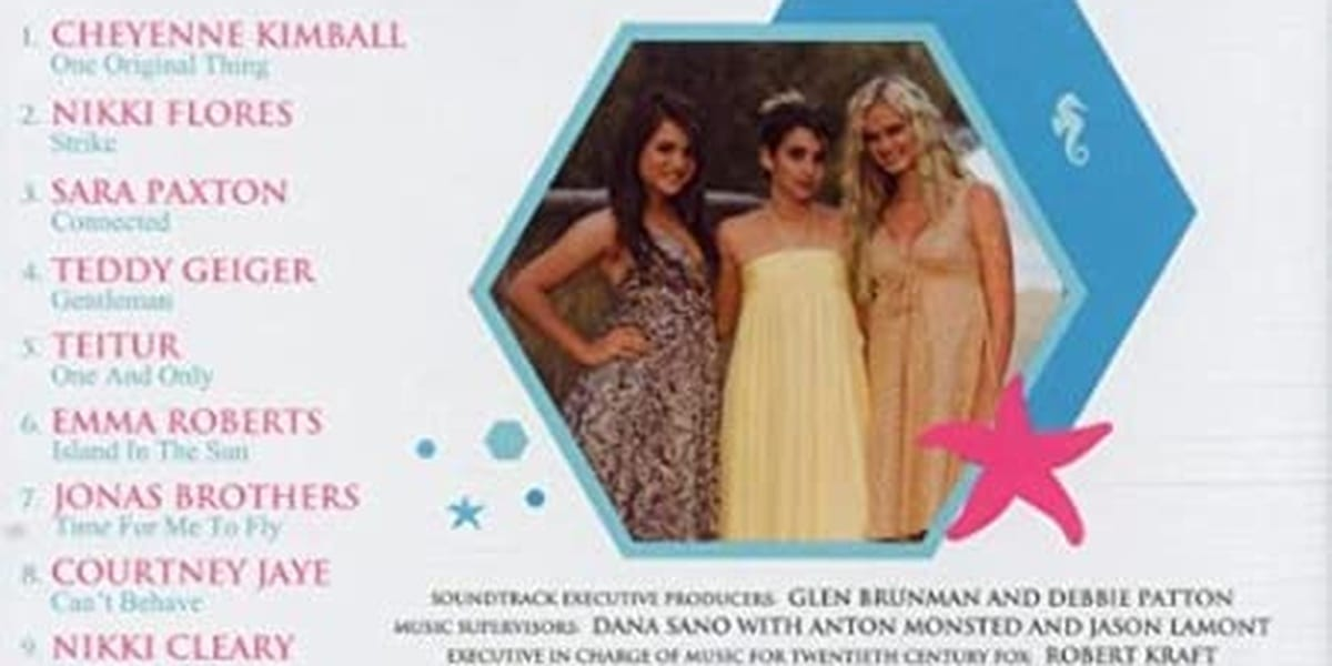 Aquamarine Back Of CD Soundtrack Pic of JoJo Levesque, Emma Roberts and Sara Paxton with song listings to the left