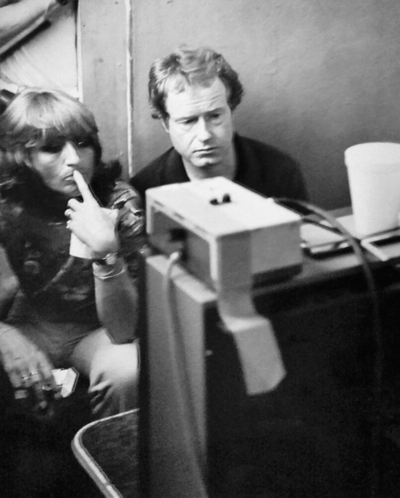 Katy Haber and Ridley Scott watching a monitor on set of Blade Runner