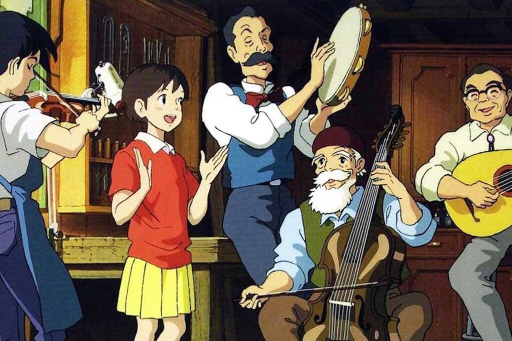 (left to right) Seiji, Shizuku, Kita, Nishi and Minami, play and sing Country Roads together