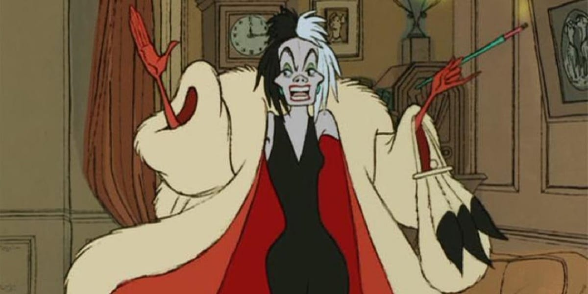 Cruella De Vil in 101 Dalmatians 1961, holding up both of her arms, one hand holding up a long cigarette, her face a look of disdain, as she wears a black dress and fur coat