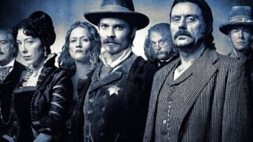 A black and white group shot of some of the cast of Deadwood